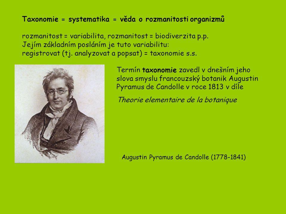 Augustin Pyramus de Candolle (1778-1841) Termín taxonomie zavedl v dnešním jeho slova smyslu francouzský botanik Augustin Pyramus de Candolle v roce 1813 v díle Theorie elementaire de la botanique Taxonomie = systematika = věda o rozmanitosti organizmů rozmanitost = variabilita, rozmanitost = biodiverzita p.p.