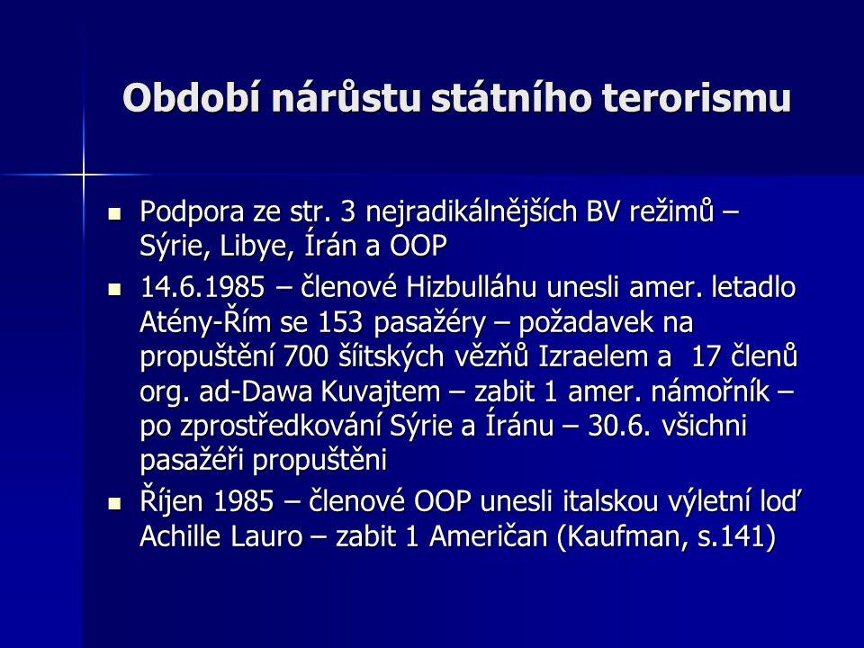 Období nárůstu státního terorismu Podpora ze str.