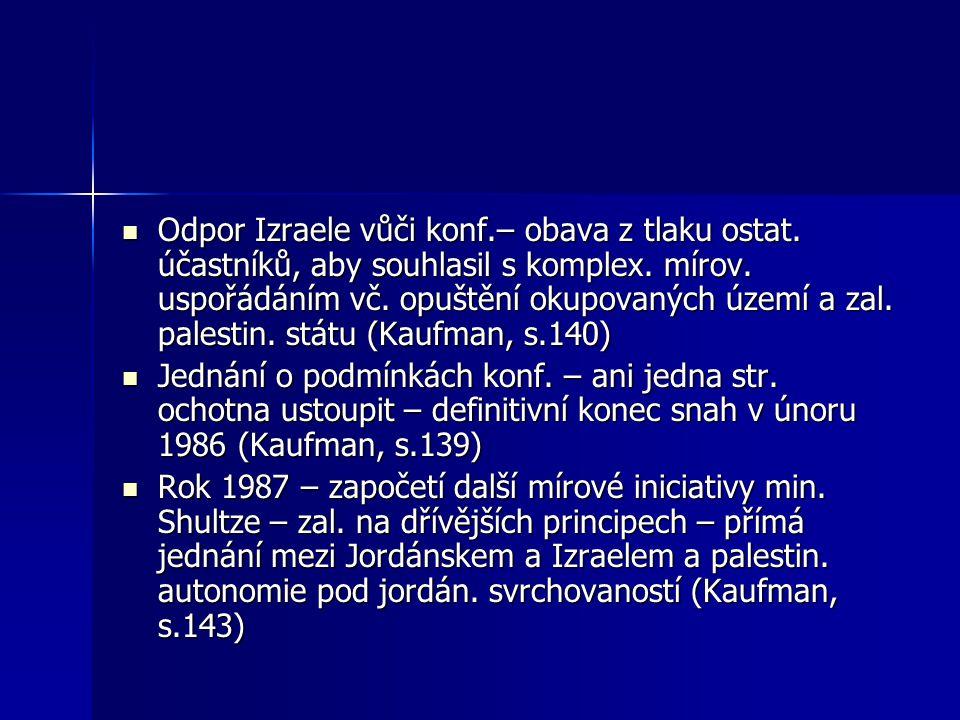 Odpor Izraele vůči konf.– obava z tlaku ostat. účastníků, aby souhlasil s komplex.