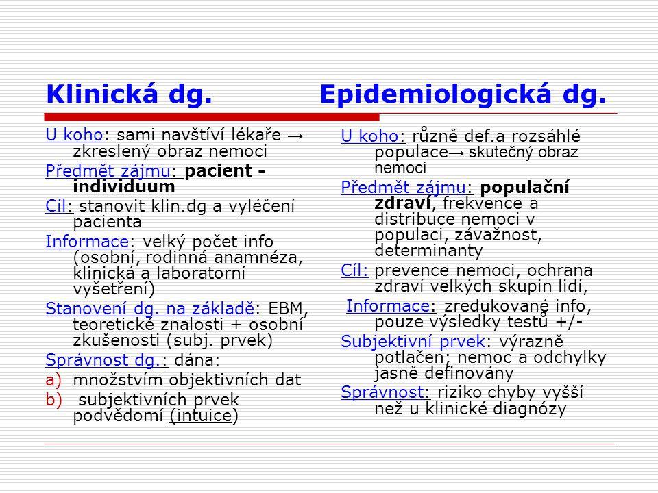 Klinická dg. Epidemiologická dg. U koho: sami navštíví lékaře → zkreslený obraz nemoci Předmět zájmu: pacient - individuum Cíl: stanovit klin.dg a vyl