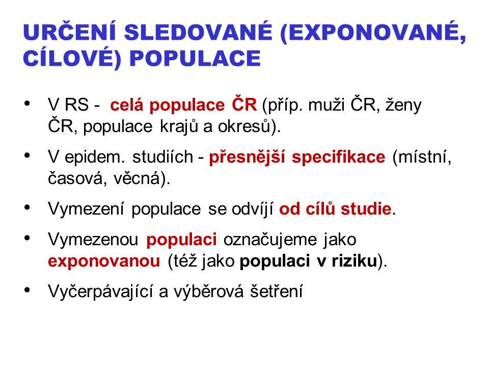URČENÍ SLEDOVANÉ (EXPONOVANÉ, CÍLOVÉ) POPULACE V RS - celá populace ČR (příp. muži ČR, ženy ČR, populace krajů a okresů). V epidem. studiích - přesněj