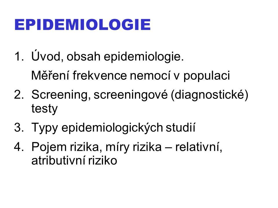 EPIDEMIOLOGIE 1. Úvod, obsah epidemiologie. Měření frekvence nemocí v populaci 2.Screening, screeningové (diagnostické) testy 3.Typy epidemiologických