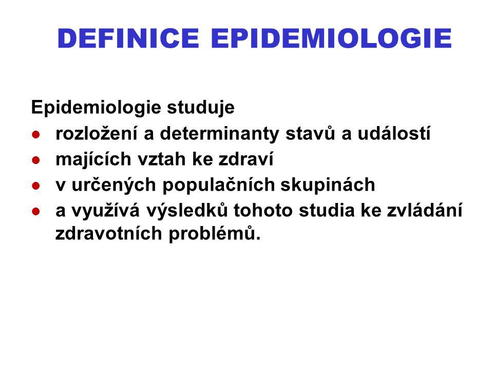 DEFINICE EPIDEMIOLOGIE Epidemiologie studuje rozložení a determinanty stavů a událostí majících vztah ke zdraví v určených populačních skupinách a vyu