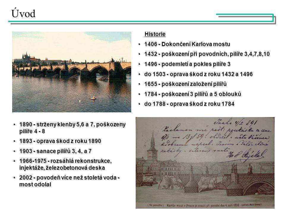 Úvod Historie Historie 1406 - Dokončení Karlova mostu1406 - Dokončení Karlova mostu 1432 - poškození při povodních, pilíře 3,4,7,8,101432 - poškození při povodních, pilíře 3,4,7,8,10 1496 - podemletí a pokles pilíře 31496 - podemletí a pokles pilíře 3 do 1503 - oprava škod z roku 1432 a 1496do 1503 - oprava škod z roku 1432 a 1496 1655 - poškození založení pilířů1655 - poškození založení pilířů 1784 - poškození 3 pilířů a 5 oblouků1784 - poškození 3 pilířů a 5 oblouků do 1788 - oprava škod z roku 1784do 1788 - oprava škod z roku 1784 1890 - strženy klenby 5,6 a 7, poškozeny pilíře 4 - 81890 - strženy klenby 5,6 a 7, poškozeny pilíře 4 - 8 1893 - oprava škod z roku 18901893 - oprava škod z roku 1890 1903 - sanace pilířů 3, 4, a 71903 - sanace pilířů 3, 4, a 7 1966-1975 - rozsáhlá rekonstrukce, injektáže, železobetonová deska1966-1975 - rozsáhlá rekonstrukce, injektáže, železobetonová deska 2002 - povodeň více než stoletá voda - most odolal2002 - povodeň více než stoletá voda - most odolal