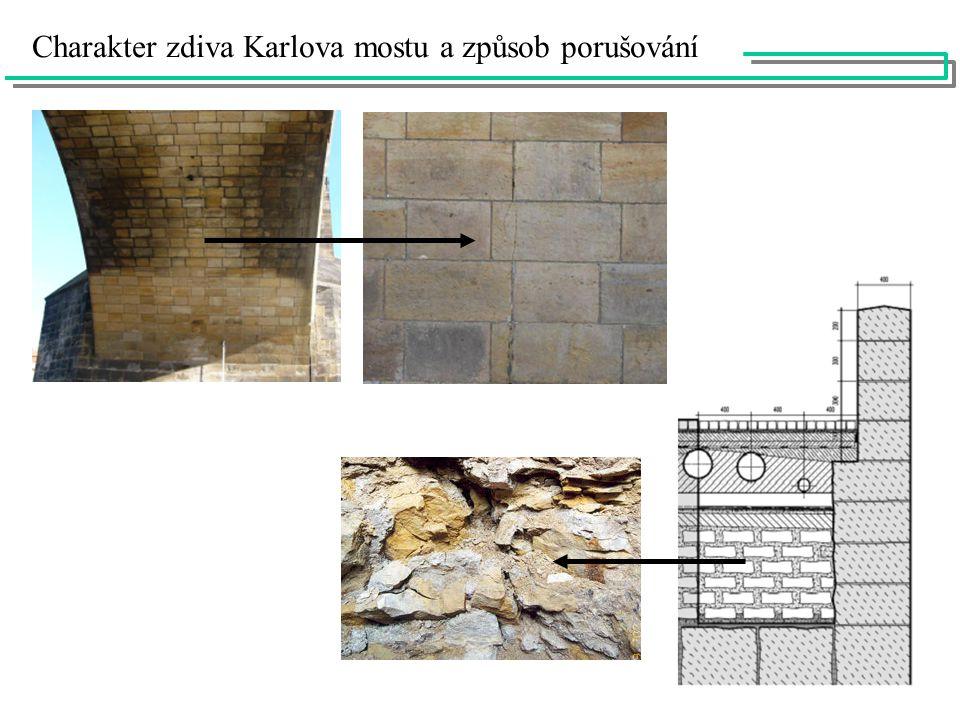 Charakter zdiva Karlova mostu a způsob porušování