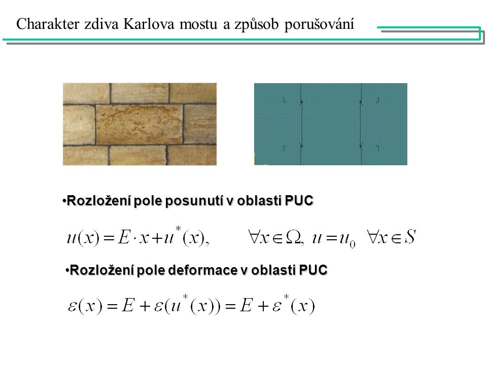 Rozložení pole posunutí v oblasti PUCRozložení pole posunutí v oblasti PUC Rozložení pole deformace v oblasti PUCRozložení pole deformace v oblasti PUC