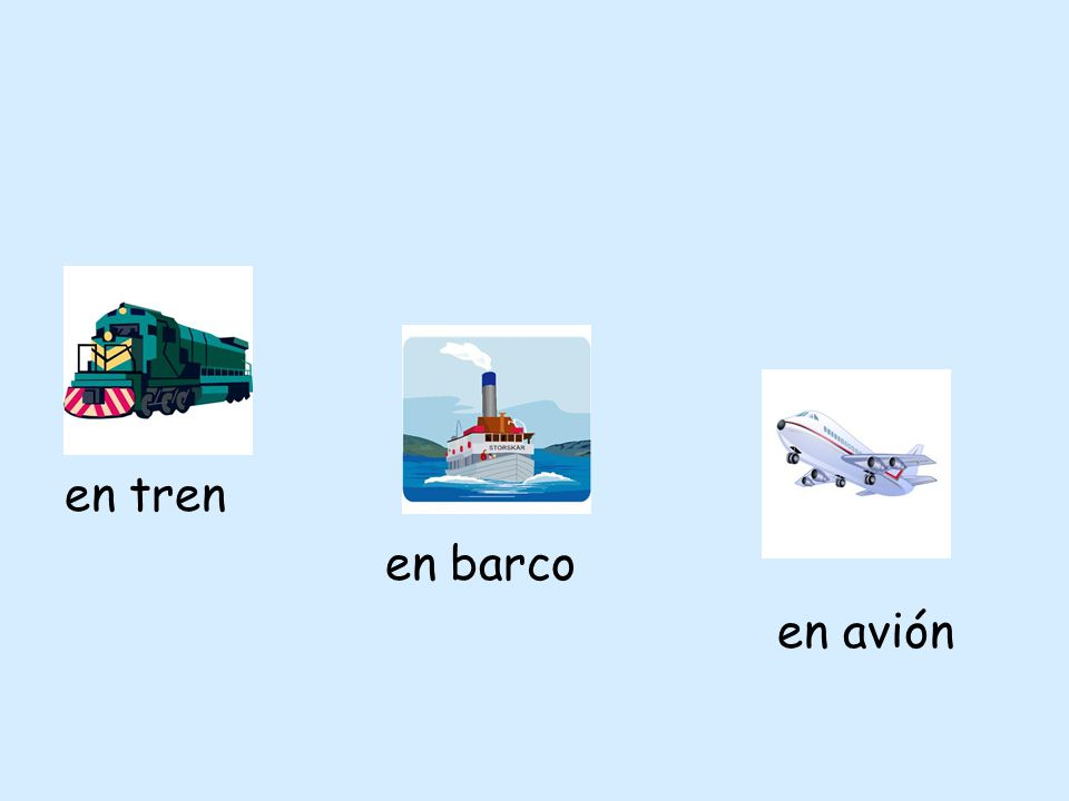 en tren en barco en avión
