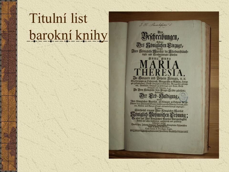Titulní list barokní knihy