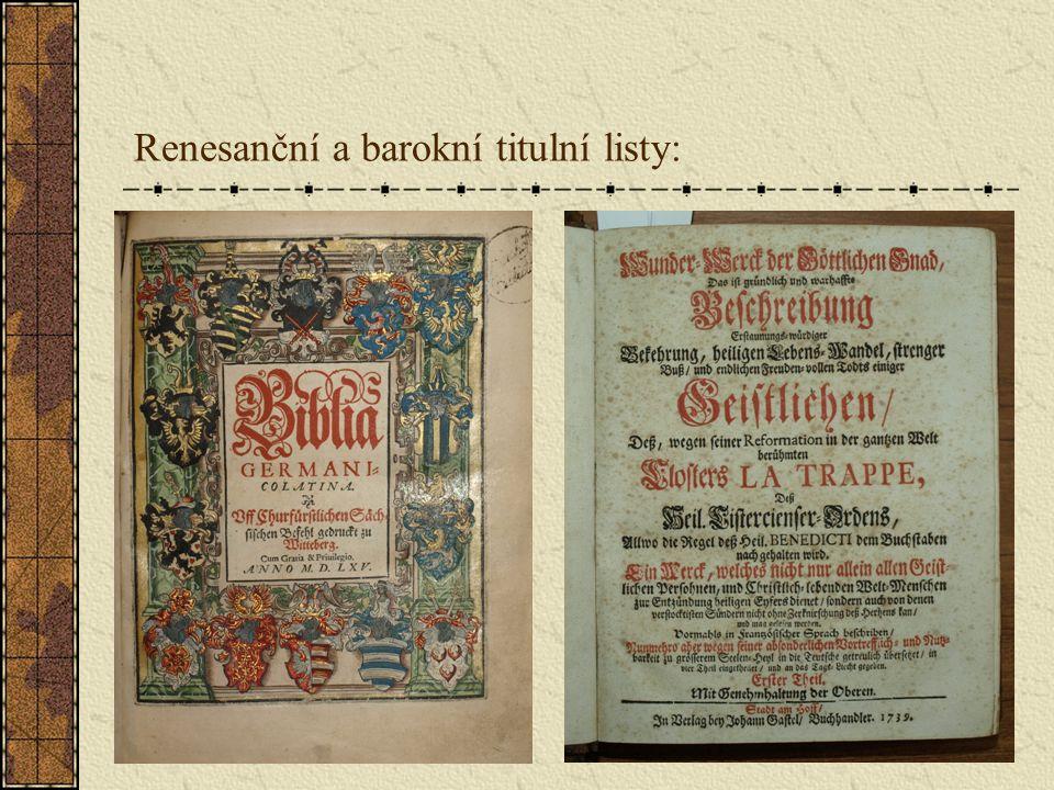 Renesanční a barokní titulní listy:
