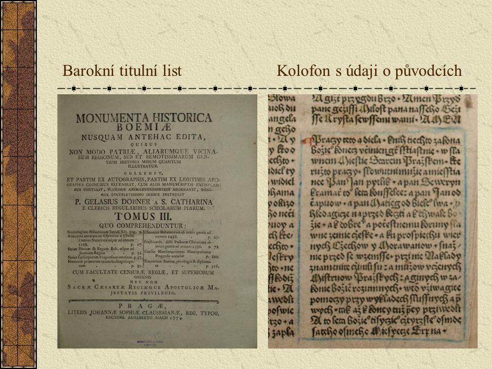 Barokní titulní list Kolofon s údaji o původcích