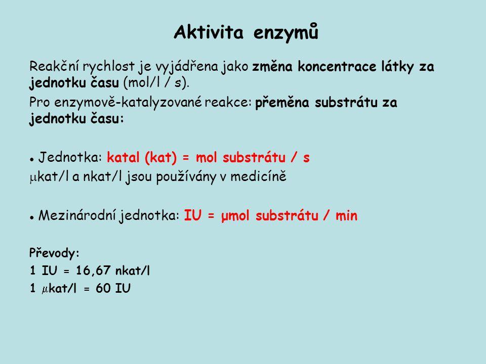 Aktivita enzymů Reakční rychlost je vyjádřena jako změna koncentrace látky za jednotku času (mol/l / s). Pro enzymově-katalyzované reakce: přeměna sub
