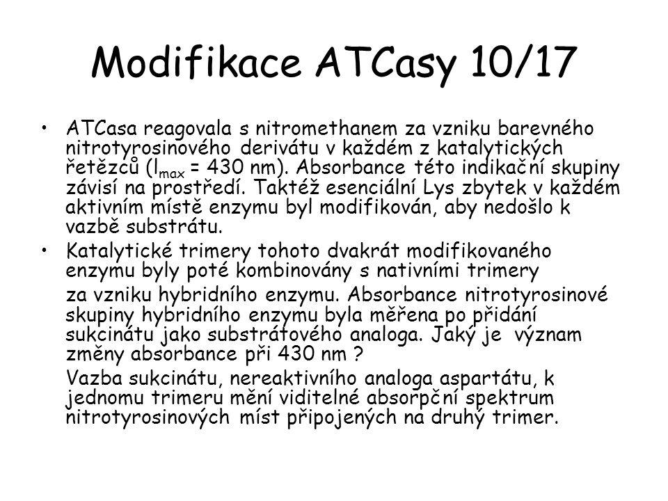 Modifikace ATCasy 10/17 ATCasa reagovala s nitromethanem za vzniku barevného nitrotyrosinového derivátu v každém z katalytických řetězců (l max = 430