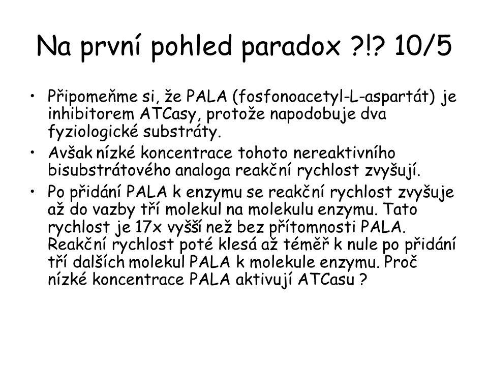 Na první pohled paradox ?!? 10/5 Připomeňme si, že PALA (fosfonoacetyl-L-aspartát) je inhibitorem ATCasy, protože napodobuje dva fyziologické substrát