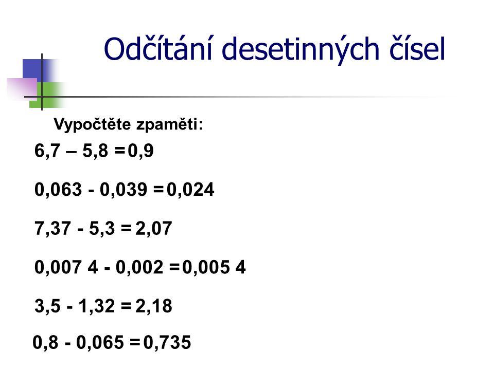 Odčítání desetinných čísel Vypočtěte zpaměti: 6,7 – 5,8 = 7,37 - 5,3 = 0,9 2,07 0,0240,063 - 0,039 = 0,007 4 - 0,002 =0,005 4 3,5 - 1,32 =2,18 0,8 - 0,065 =0,735