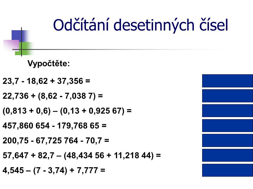 Odčítání desetinných čísel Vypočtěte: 22,736 + (8,62 - 7,038 7) = 457,860 654 - 179,768 65 = 24,317 3 278,092 004 0,357 33(0,813 + 0,6) – (0,13 + 0,925 67) = 42,436 200,75 - 67,725 764 - 70,7 = 4,545 – (7 - 3,74) + 7,777 = 62,324 236 9,062 80,69457,647 + 82,7 – (48,434 56 + 11,218 44) = 23,7 - 18,62 + 37,356 =