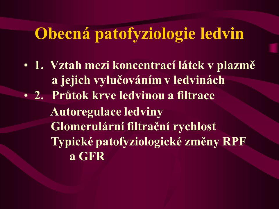 Obecná patofyziologie ledvin 1. Vztah mezi koncentrací látek v plazmě a jejich vylučováním v ledvinách 2. Průtok krve ledvinou a filtrace Autoregulace