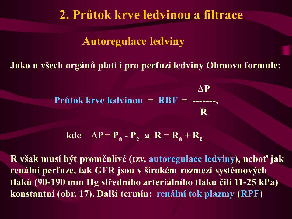 2. Průtok krve ledvinou a filtrace Autoregulace ledviny Jako u všech orgánů platí i pro perfuzi ledviny Ohmova formule:  P Průtok krve ledvinou = RBF
