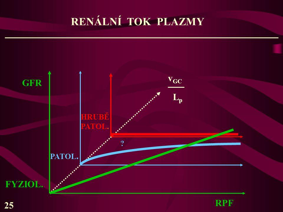 RENÁLNÍ TOK PLAZMY GFR FYZIOL. PATOL. HRUBĚ PATOL. RPF ? v GC LpLp 25.