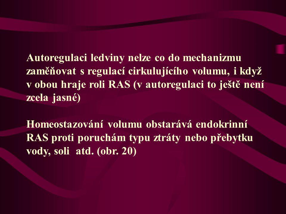 Autoregulaci ledviny nelze co do mechanizmu zaměňovat s regulací cirkulujícího volumu, i když v obou hraje roli RAS (v autoregulaci to ještě není zcel