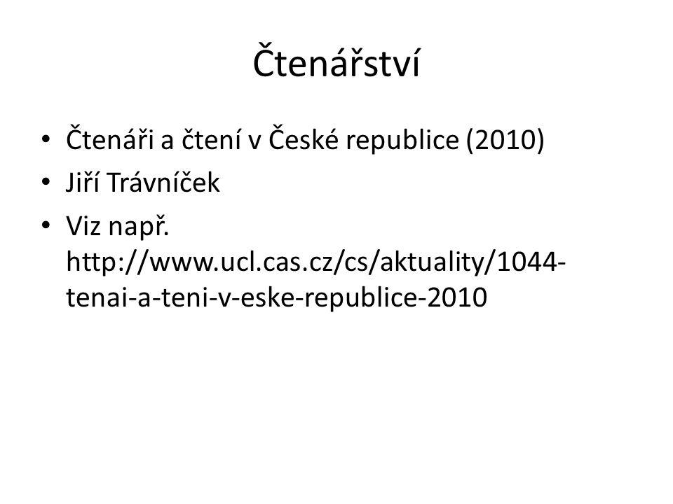 Čtenářství Čtenáři a čtení v České republice (2010) Jiří Trávníček Viz např.