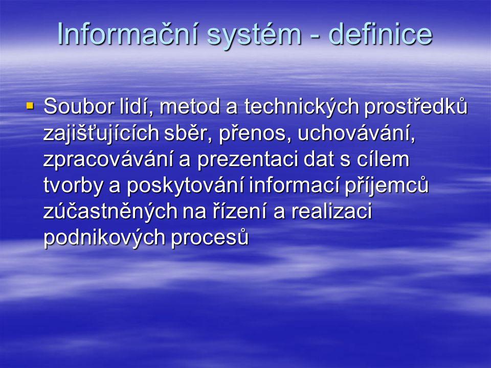 Informační systém - definice  Soubor lidí, metod a technických prostředků zajišťujících sběr, přenos, uchovávání, zpracovávání a prezentaci dat s cílem tvorby a poskytování informací příjemců zúčastněných na řízení a realizaci podnikových procesů