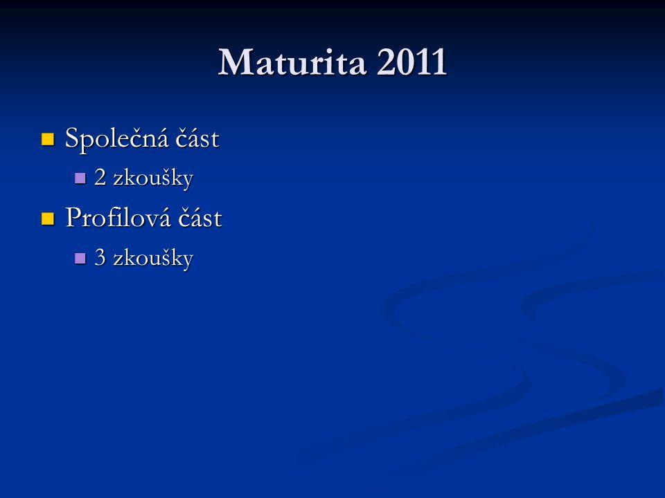 Maturita 2011 Společná část Společná část 2 zkoušky 2 zkoušky Profilová část Profilová část 3 zkoušky 3 zkoušky