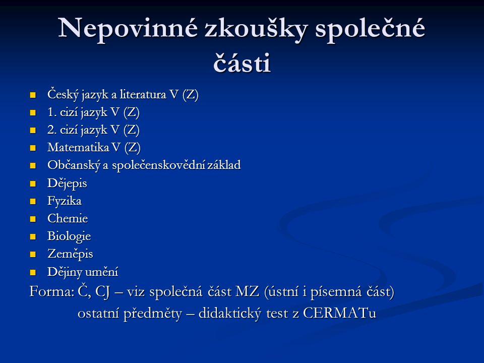 Nepovinné zkoušky společné části Český jazyk a literatura V (Z) Český jazyk a literatura V (Z) 1.