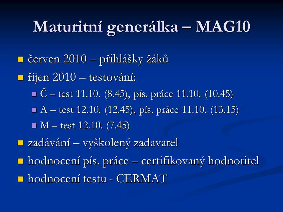 Maturitní generálka – MAG10 červen 2010 – přihlášky žáků červen 2010 – přihlášky žáků říjen 2010 – testování: říjen 2010 – testování: Č – test 11.10.