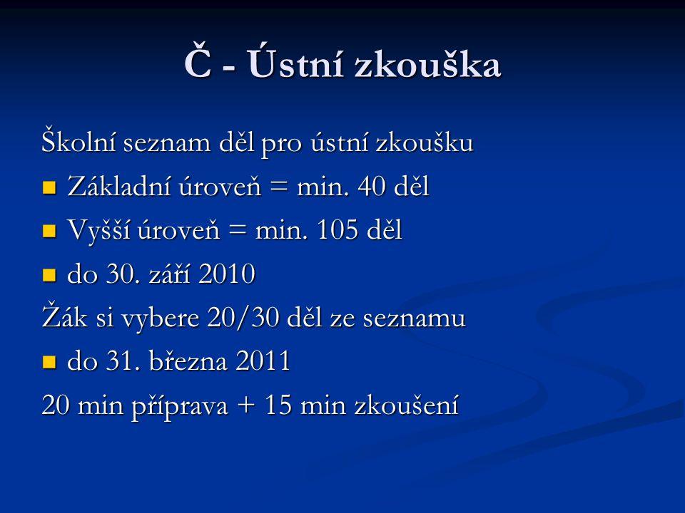 Č - Ústní zkouška Školní seznam děl pro ústní zkoušku Základní úroveň = min.