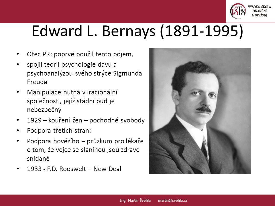 Edward L. Bernays (1891-1995) Otec PR: poprvé použil tento pojem, spojil teorii psychologie davu a psychoanalýzou svého strýce Sigmunda Freuda Manipul