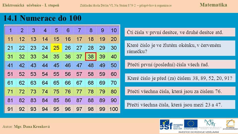 14.1 Numerace do 100 Elektronická učebnice - I.