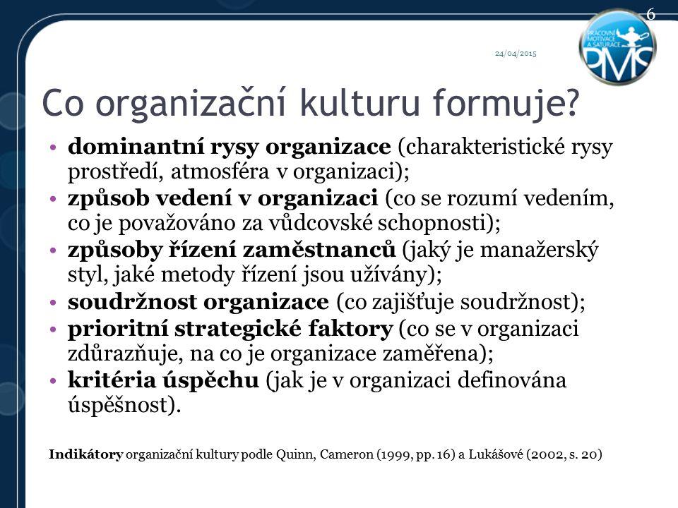 Co organizační kulturu formuje.
