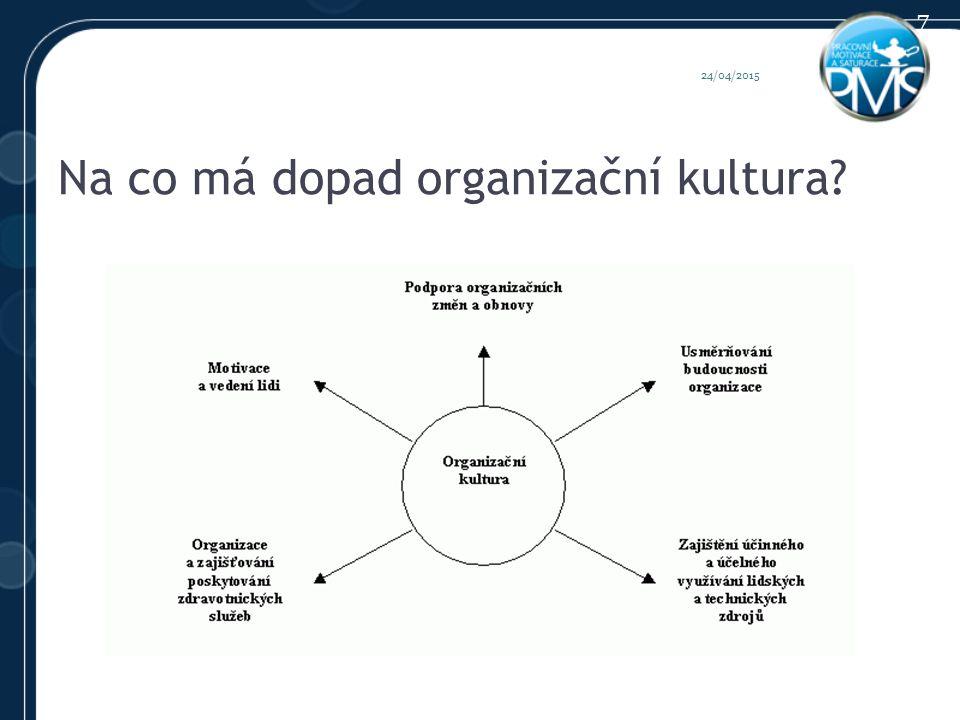 Na co má dopad organizační kultura 24/04/2015 7
