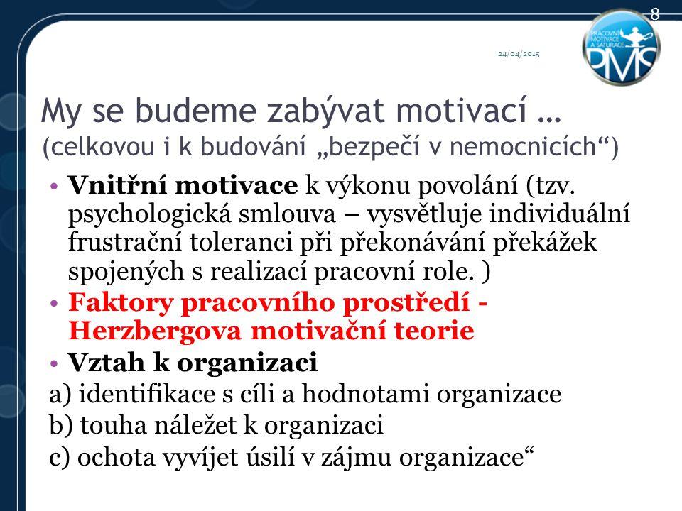 """My se budeme zabývat motivací … (celkovou i k budování """"bezpečí v nemocnicích ) Vnitřní motivace k výkonu povolání (tzv."""