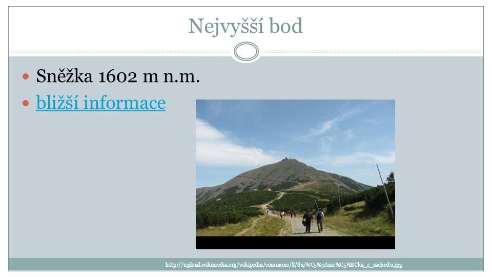 Nejvyšší bod Sněžka 1602 m n.m.