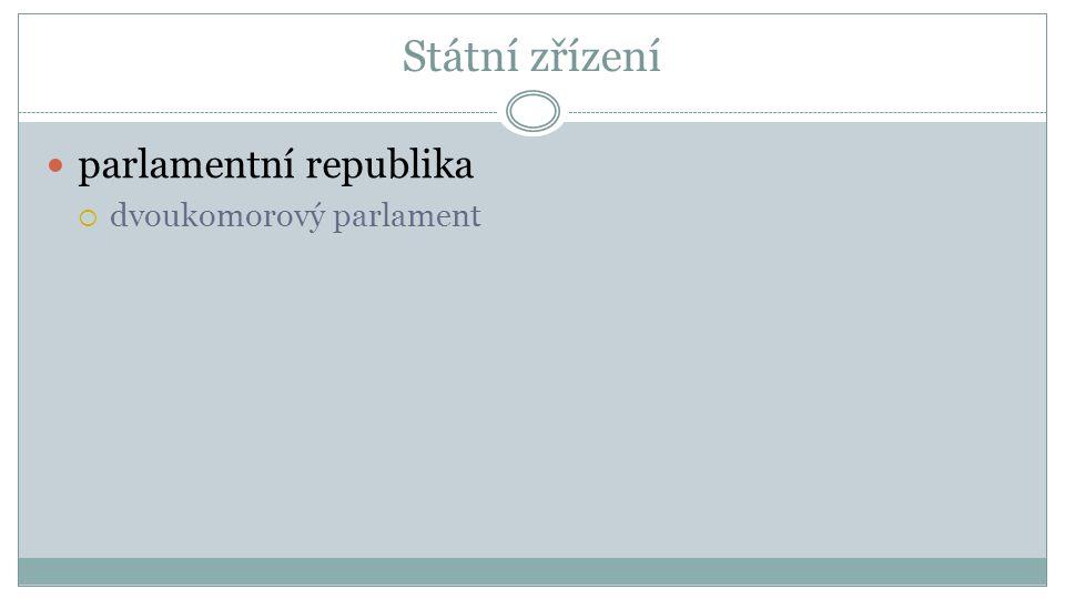 Státní zřízení parlamentní republika  dvoukomorový parlament