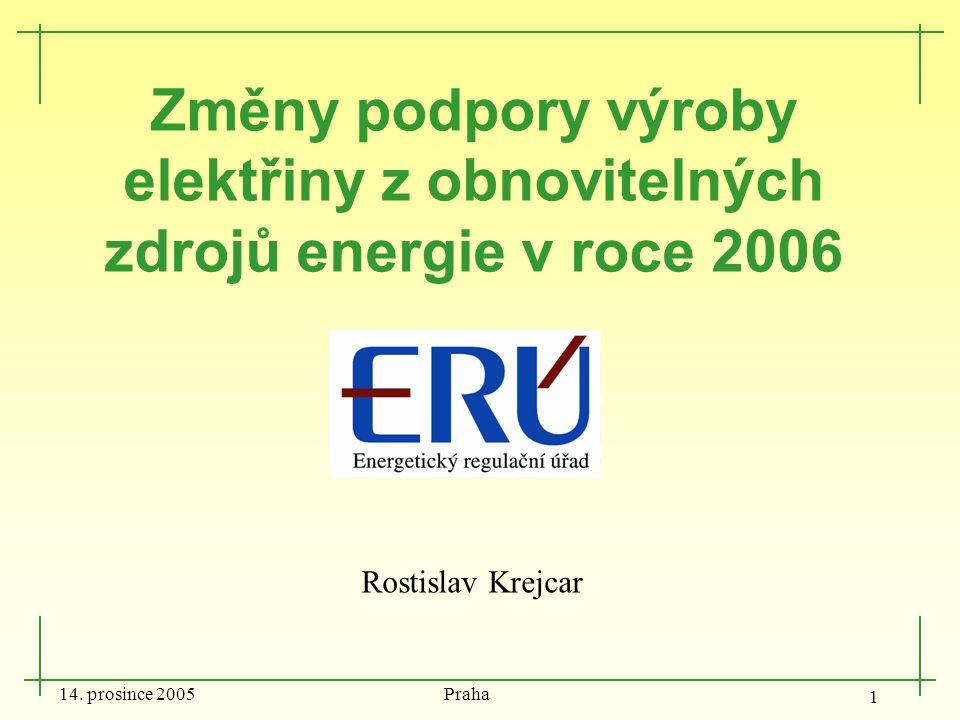 14. prosince 2005 Praha 1 Změny podpory výroby elektřiny z obnovitelných zdrojů energie v roce 2006 Rostislav Krejcar
