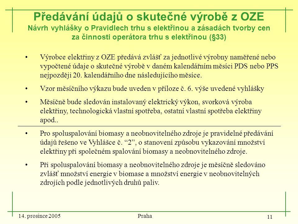 14. prosince 2005 Praha 11 Předávání údajů o skutečné výrobě z OZE Návrh vyhlášky o Pravidlech trhu s elektřinou a zásadách tvorby cen za činnosti ope