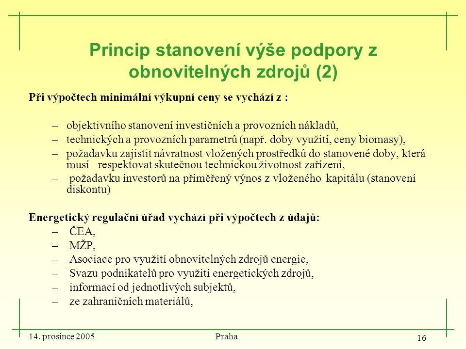 14. prosince 2005 Praha 16 Princip stanovení výše podpory z obnovitelných zdrojů (2) Při výpočtech minimální výkupní ceny se vychází z : –objektivního