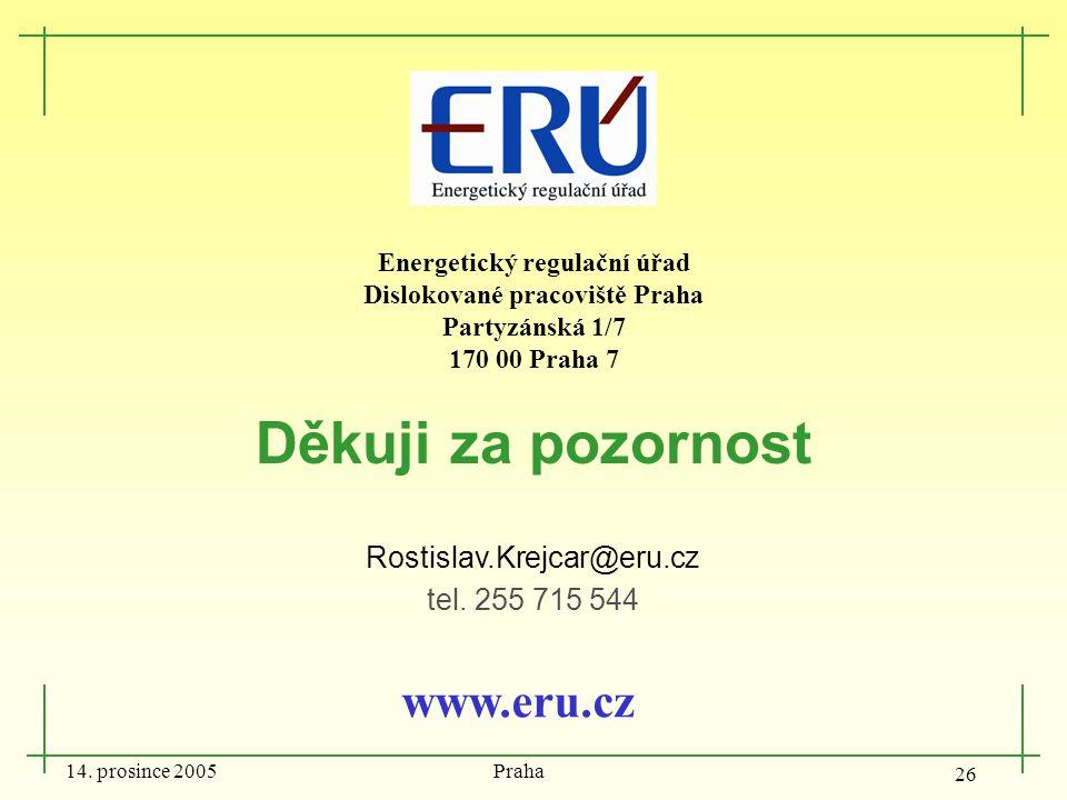 14. prosince 2005 Praha 26 Děkuji za pozornost Rostislav.Krejcar@eru.cz tel. 255 715 544 www.eru.cz Energetický regulační úřad Dislokované pracoviště