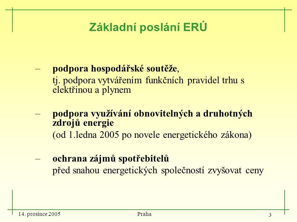 14. prosince 2005 Praha 3 Základní poslání ERÚ –podpora hospodářské soutěže, tj. podpora vytvářením funkčních pravidel trhu s elektřinou a plynem –pod