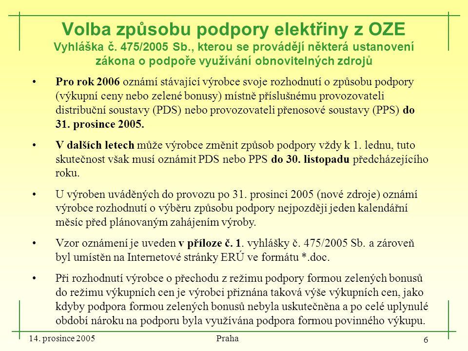 14. prosince 2005 Praha 6 Volba způsobu podpory elektřiny z OZE Vyhláška č. 475/2005 Sb., kterou se provádějí některá ustanovení zákona o podpoře využ
