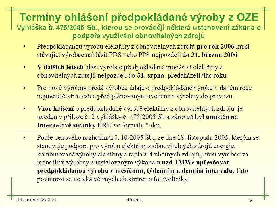 14. prosince 2005 Praha 8 Termíny ohlášení předpokládané výroby z OZE Vyhláška č. 475/2005 Sb., kterou se provádějí některá ustanovení zákona o podpoř