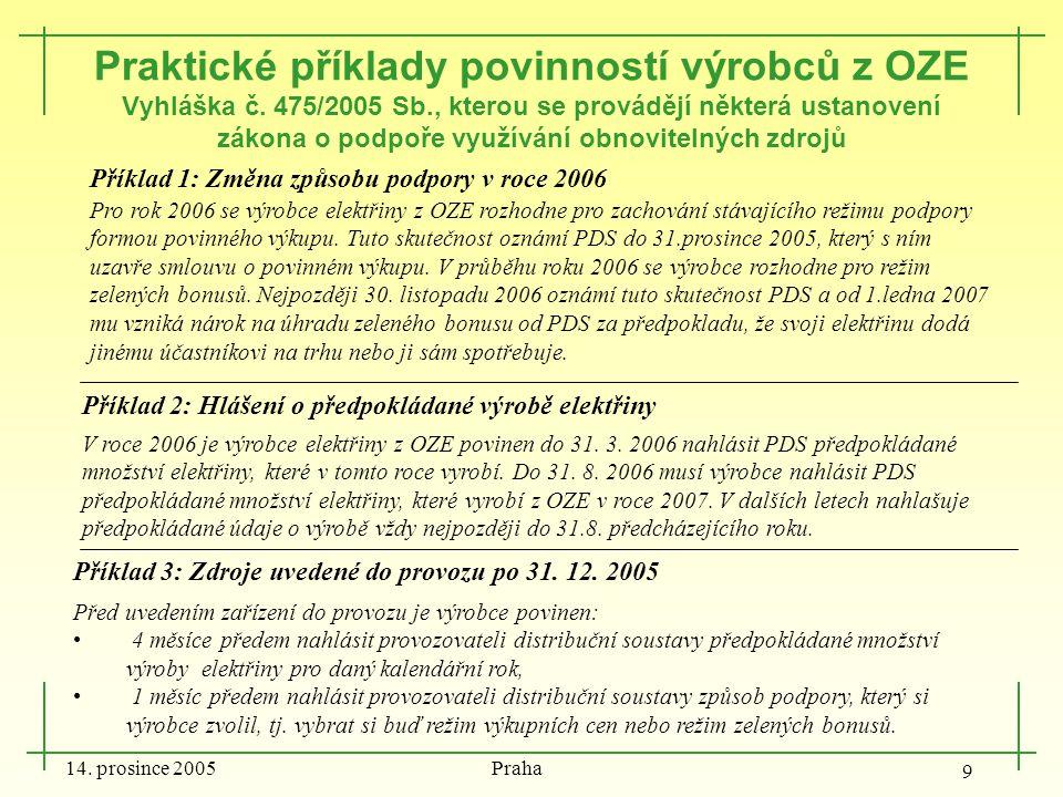 14. prosince 2005 Praha 9 Příklad 1: Změna způsobu podpory v roce 2006 Pro rok 2006 se výrobce elektřiny z OZE rozhodne pro zachování stávajícího reži