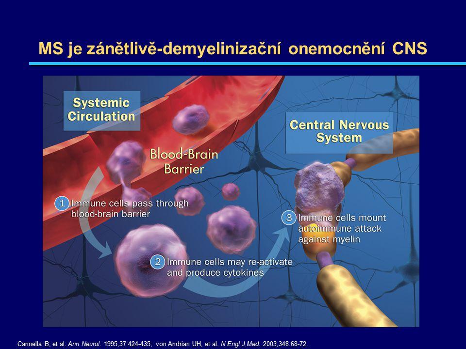 MS je zánětlivě-demyelinizační onemocnění CNS Cannella B, et al. Ann Neurol. 1995;37:424-435; von Andrian UH, et al. N Engl J Med. 2003;348:68-72.