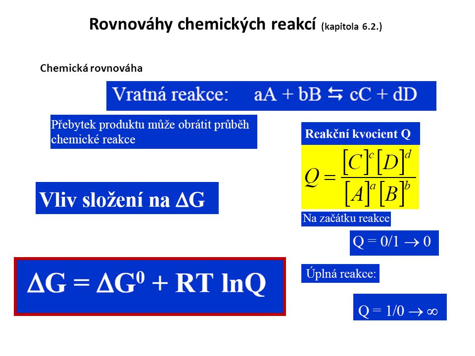 Rovnováhy chemických reakcí (kapitola 6.2.) Chemická rovnováha