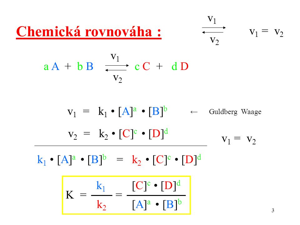 3 Chemická rovnováha : v1v1 v2v2 v 1 = v 2 a A + b B c C + d D v1v1 v2v2 v 1 = k 1 [A] a [B] b v 2 = k 2 [C] c [D] d v 1 = v 2 k 1 [A] a [B] b = k 2 [C] c [D] d ← Guldberg Waage K = = [A] a [B] b [C] c [D] d k1k1 k2 k2