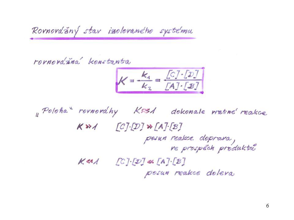 17 [S][S] t Kinetická křivka pro substrát (reaktant) S reakce 1. řádu S → P