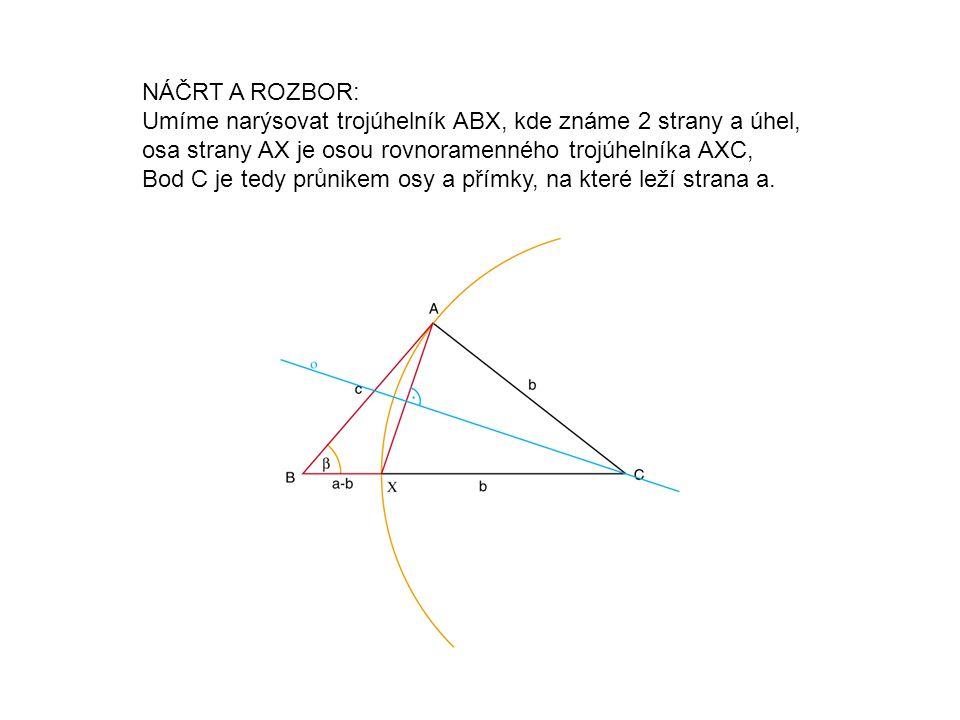 NÁČRT A ROZBOR: Umíme narýsovat trojúhelník ABX, kde známe 2 strany a úhel, osa strany AX je osou rovnoramenného trojúhelníka AXC, Bod C je tedy průnikem osy a přímky, na které leží strana a.
