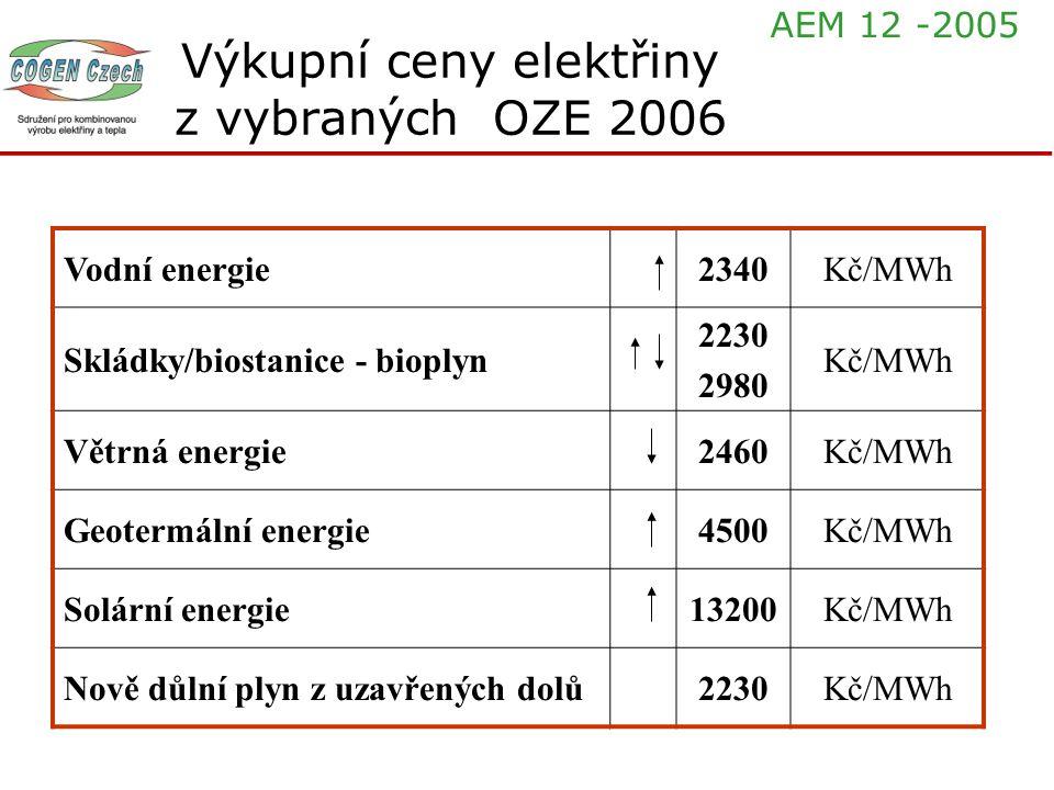 Výkupní ceny elektřiny z vybraných OZE 2006 Vodní energie2340Kč/MWh Skládky/biostanice - bioplyn 2230 2980 Kč/MWh Větrná energie2460Kč/MWh Geotermální
